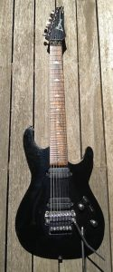 Jim Snow's 7-string Ibanez guitar, converted by himself