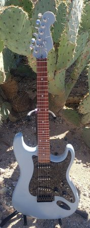 Robert Lopez-Hanshaw's 6-string guitar (unknown brand) converted mostly by himself, fretboard by Athan
