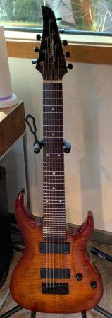 Caleb Ramsey's 8-string Shawn guitar by Agile, refretted by Vivian Cecylia Tylińska
